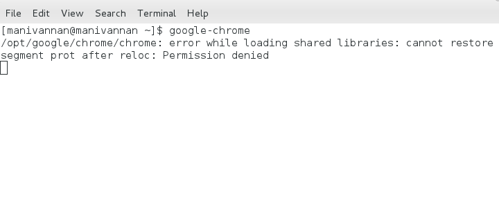 Unable to start Google Chrome on Fedora 16 / 15 / 14