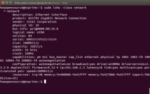 Linux find network adapter info