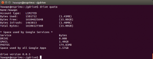 Linux Ubuntu Command Line Google Drive Quota