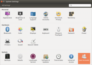 Ubuntu All Settings Dialog