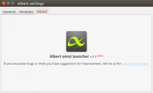 Albert Launcher About Screen