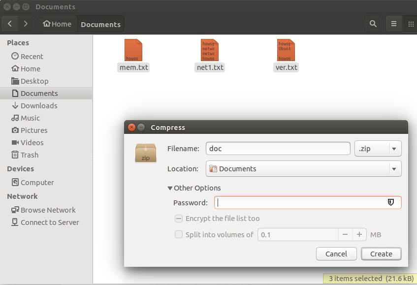 Create encrypted zip file on Ubuntu Linux