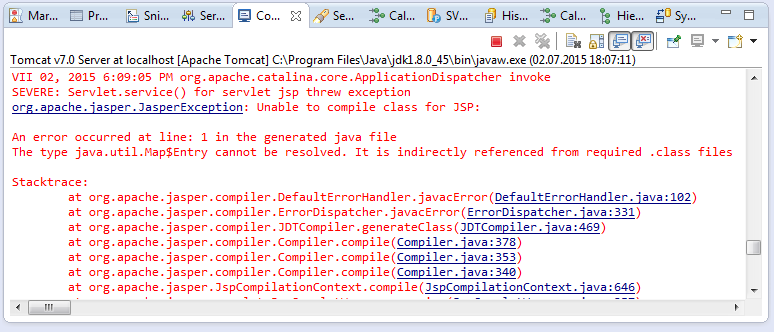 The type java.util.Map$Entry cannot be resolved Map Entry on