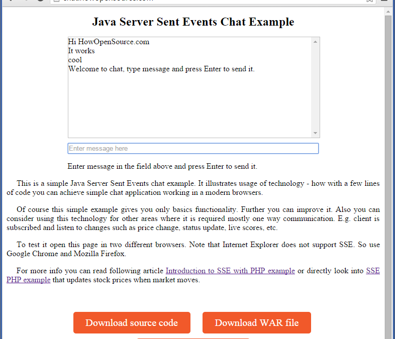 Java Server Sent Events Chat Example (SSE)